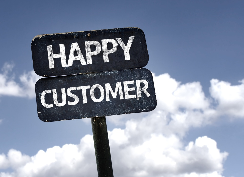Happy Customer sign with clouds and sky background
